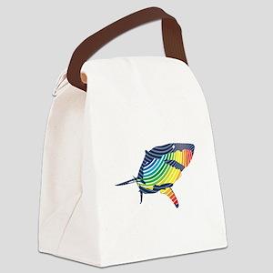 great white rainbow shark Canvas Lunch Bag