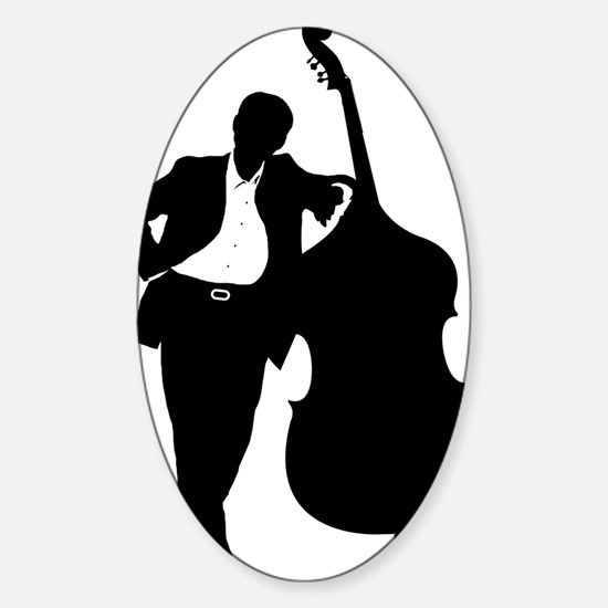 Man-With-Double-Bass-01-a Sticker (Oval)