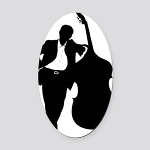 Man-With-Double-Bass-01-a Oval Car Magnet