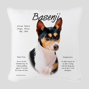 Basenji (tricolor) Woven Throw Pillow