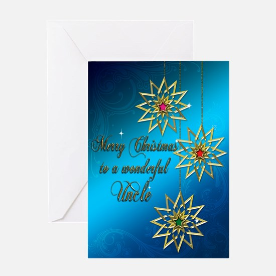 A blue Christmas card for a wonderful uncle. Greet
