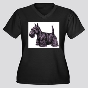 Scottish Ter Women's Plus Size V-Neck Dark T-Shirt