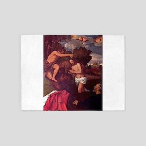 Baptism of Christ - Titian - c1512 5'x7'Area Rug