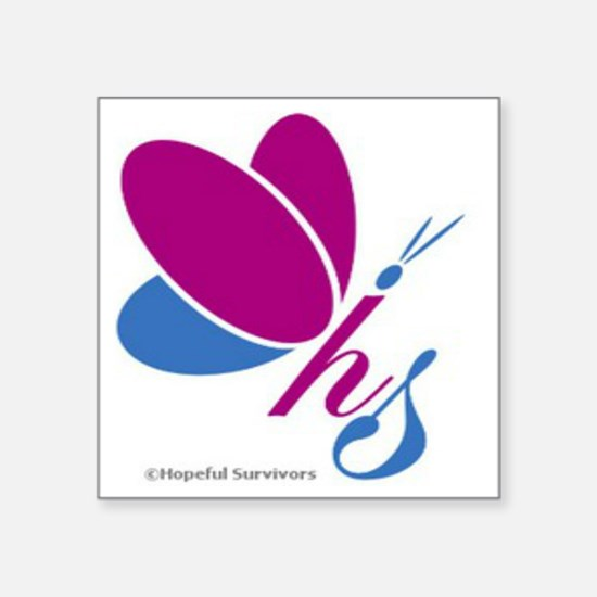 "Hopeful Survivors Butterfly Square Sticker 3"" x 3"""