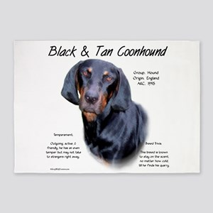 Black and Tan Coonhound 5'x7'Area Rug