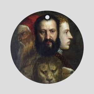 Allegory of Prudence - Titian - c1566 Round Orname
