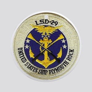 uss plymouth rock patch transparent Round Ornament