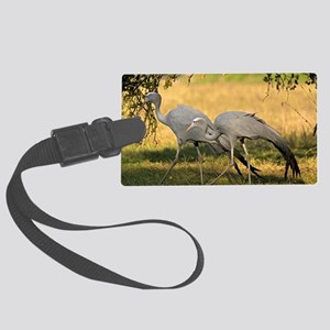 Pair of blue cranes Large Luggage Tag