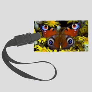 Peacock butterfly Large Luggage Tag