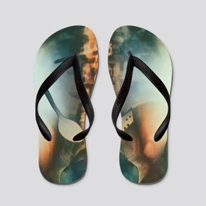 Coloured X-ray of spoon and blade in in Flip Flops