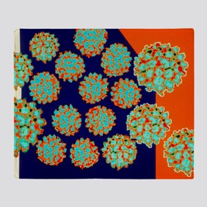 Coloured TEM of Papilloma viruses Throw Blanket