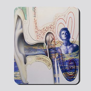 Conceptual artwork of an ear with tinnit Mousepad