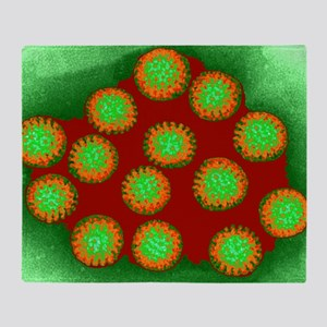 Coloured TEM of a group of rotavirus Throw Blanket