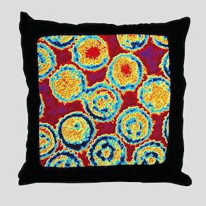 Coloured TEM of Epstein-Barr viruses Throw Pillow