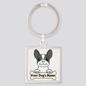 Personalized French Bulldog Square Keychain