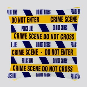 Crime scene tape Woven Throw Pillow