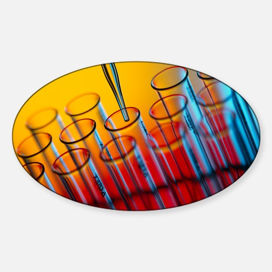 Pipette dipensing fluid into test t Sticker (Oval)