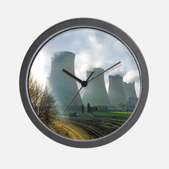 Power station cooling towers Wall Clock
