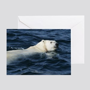 Polar bear swimming Greeting Card