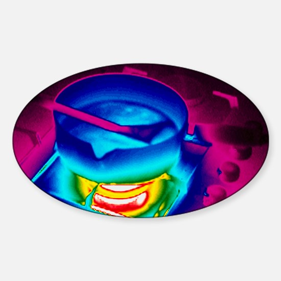 Cooking on a gas stove, thermogram Sticker (Oval)