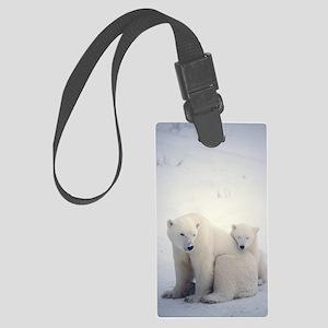 Polar bear and cub Large Luggage Tag