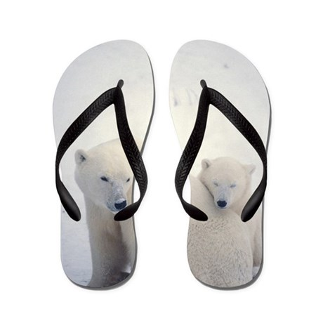 Polar bear and cub Flip Flops