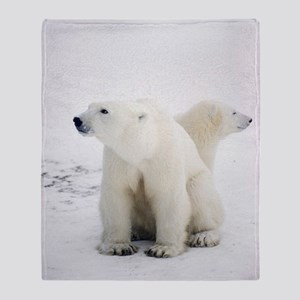 Polar bear and cub Throw Blanket