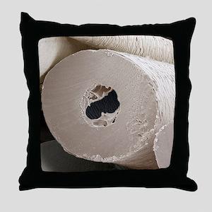 Polar bear insulating hair, SEM Throw Pillow