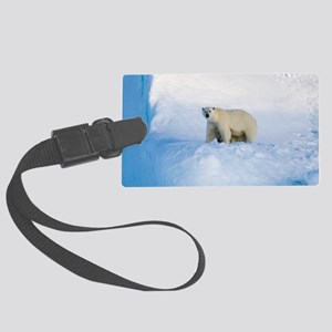 Polar bear mother and cub Large Luggage Tag
