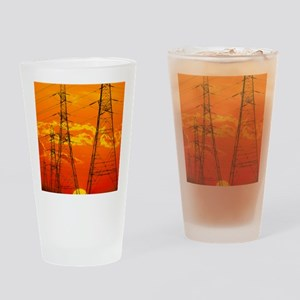 Pylons carrying electricity wires a Drinking Glass
