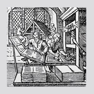 Printing press, 16th century Tile Coaster