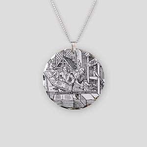 Printing press, 16th century Necklace Circle Charm