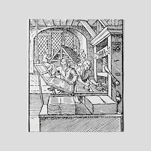 Printing press, 16th century Throw Blanket