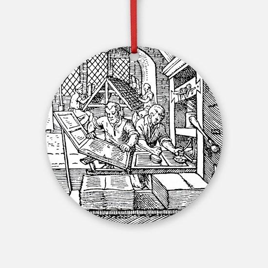 Printing press, 16th century Round Ornament