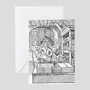 Printing press, 16th century Greeting Card