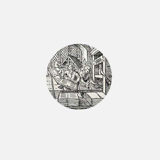 Printing press, 16th century Mini Button