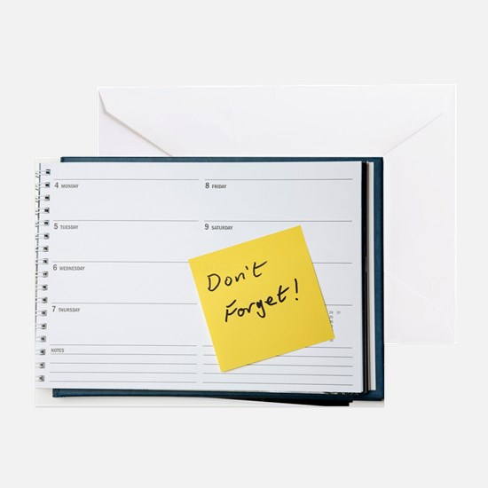 Diary reminder, post-it note Greeting Card