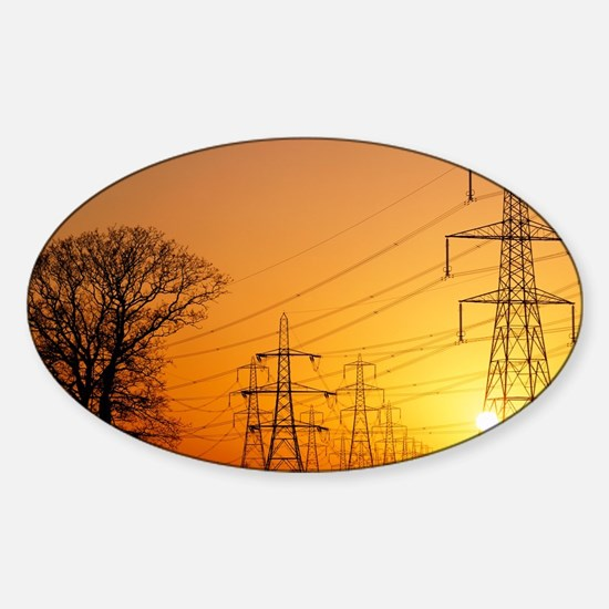 Pylons and power lines at sunset Sticker (Oval)