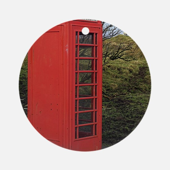 Red telephone box Round Ornament