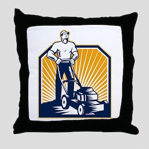 Gardener Mowing Lawn Mower Retro Throw Pillow