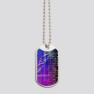 DNA microarray and double helix Dog Tags