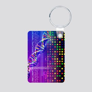 DNA microarray and double  Aluminum Photo Keychain