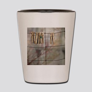 Clothespins on Wire Fence Shot Glass
