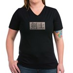 Fencer Kanji Women's V-Neck Dark T-Shirt