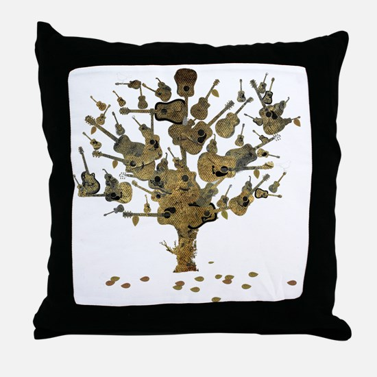 Guitar Tree Throw Pillow