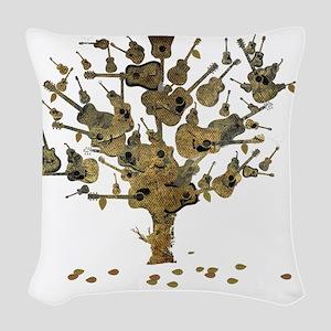 Guitar Tree Woven Throw Pillow
