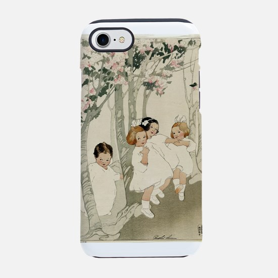 Four children dancing beneath blossoming cherry tr