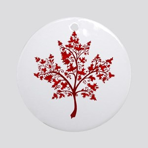 Canadian Maple Leaf Tree Round Ornament