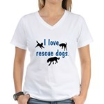 I Love Rescue Dogs Women's V-Neck T-Shirt