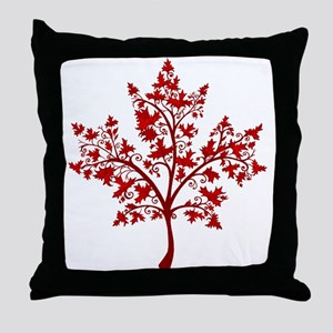 Canadian Maple Leaf Tree Throw Pillow